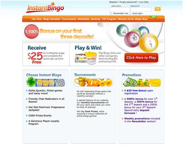 Instant Bingo deposits