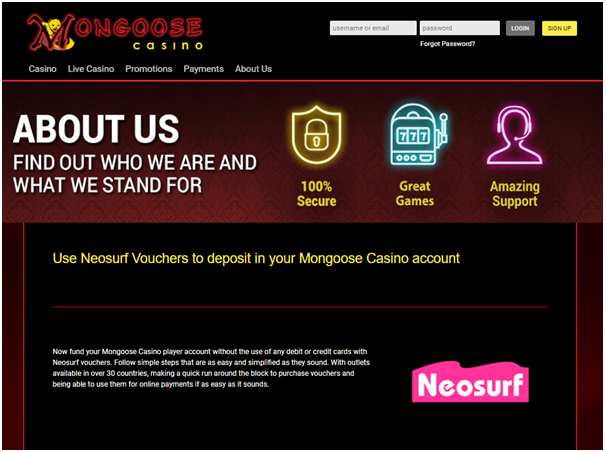 Mongoose Casino Neosurf