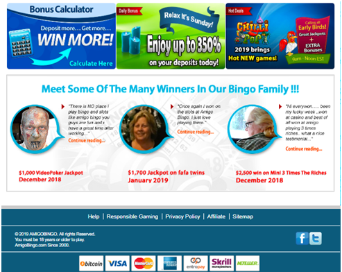 Deposits at AMigo Bingo