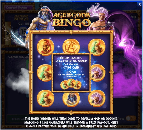 Age of the Gods Bingo game jackpots